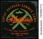 vintage vector of wilderness... | Shutterstock .eps vector #744985771