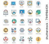 science flat icons set  | Shutterstock .eps vector #744986434
