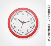 red wall office clock isolated... | Shutterstock .eps vector #744988684