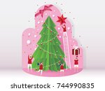 christmas card concept and... | Shutterstock .eps vector #744990835