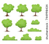 trees  hedges and bush set ... | Shutterstock .eps vector #744998434