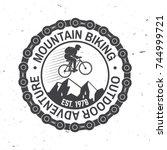 mountain biking. vector... | Shutterstock .eps vector #744999721