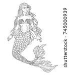 mermaid vector illustration for ... | Shutterstock .eps vector #745000939