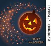 happy halloween card with... | Shutterstock .eps vector #745006534