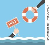 helping business to survive.... | Shutterstock .eps vector #745009474