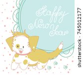 christmas greeting card. funny... | Shutterstock .eps vector #745012177