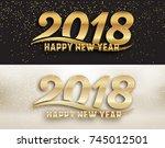 2018   calligraphic new year... | Shutterstock .eps vector #745012501
