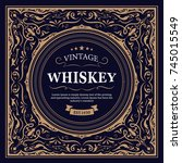 whiskey label design retro... | Shutterstock .eps vector #745015549