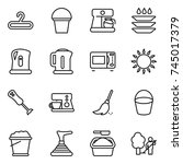 thin line icon set   hanger ... | Shutterstock .eps vector #745017379