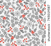 winter seamless vector pattern... | Shutterstock .eps vector #745019587