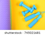 dumbbells and jump rope in cyan ... | Shutterstock . vector #745021681