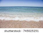 ocean beach travel summer... | Shutterstock . vector #745025251