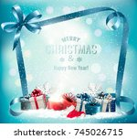holiday christmas background... | Shutterstock .eps vector #745026715