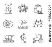agriculture linear icons set.... | Shutterstock .eps vector #745027309
