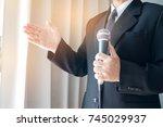 smart businessman speech and... | Shutterstock . vector #745029937