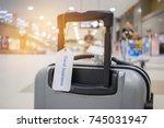travel insurance tag on... | Shutterstock . vector #745031947