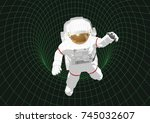astronaut into a black hole.... | Shutterstock .eps vector #745032607