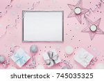 holiday decoration  frame and... | Shutterstock . vector #745035325