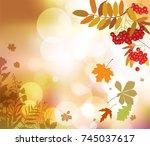 autumn floral background.   Shutterstock .eps vector #745037617