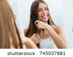 portrait of beautiful young... | Shutterstock . vector #745037881