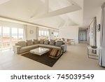 luxury villa living room...   Shutterstock . vector #745039549