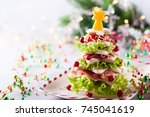 christmas tree from toasted... | Shutterstock . vector #745041619