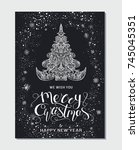 merry christmas and happy new... | Shutterstock .eps vector #745045351