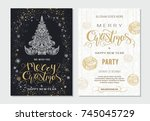 merry christmas and happy new... | Shutterstock .eps vector #745045729