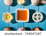 skin care on blue | Shutterstock . vector #745047187
