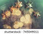 christmas background with... | Shutterstock . vector #745049011