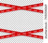 sale.red ribbon.vector design...   Shutterstock .eps vector #745054069
