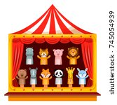 puppet show theatre. kid... | Shutterstock .eps vector #745054939
