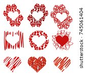 vector hearts set for wedding...   Shutterstock .eps vector #745061404