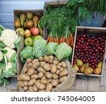 fresh fruit and vegetables... | Shutterstock . vector #745064005