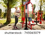 young girl has the training and ... | Shutterstock . vector #745065079