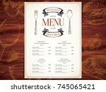 restaurant menu design. vector... | Shutterstock .eps vector #745065421