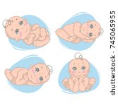 illustration  with naked babies ... | Shutterstock .eps vector #745065955