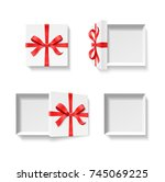 empty open gift box with red... | Shutterstock .eps vector #745069225