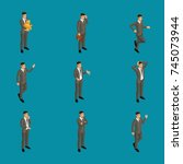 isometric man with emotions  3d ... | Shutterstock .eps vector #745073944