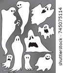 ghosts  vector illustration ... | Shutterstock .eps vector #745075114