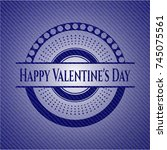 happy valentine's day emblem... | Shutterstock .eps vector #745075561