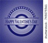 happy valentine's day emblem... | Shutterstock .eps vector #745075561