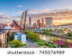 cleveland  ohio  usa skyline on ... | Shutterstock . vector #745076989
