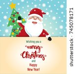 smiling santa claus and... | Shutterstock .eps vector #745078171