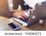 businessman using laptop and