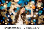 party and people concept  ... | Shutterstock . vector #745083379