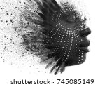 paintography. african man with... | Shutterstock . vector #745085149