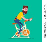 sport man on a exercise bike... | Shutterstock .eps vector #745087471