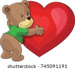 bear hugging big red heart i...