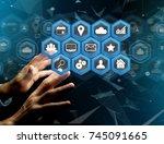 view of a application center...   Shutterstock . vector #745091665